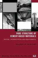 Cover image for Pore structure of cement-based materials : testing, interpretation and requirements