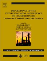 Cover image for Proceedings of the 8th International Conference on foundations of computer-aided process design