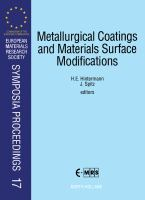 Cover image for Metallurgical coatings and materials surface modifications