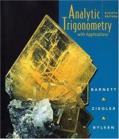 Cover image for Analytic trigonometry : with applications