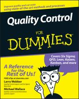 Cover image for Quality control for dummies