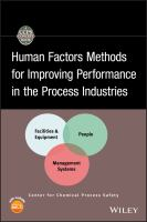 Cover image for Human factors methods for improving performance in the process industries