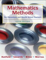 Cover image for Mathematics methods for elementary and middle school teachers