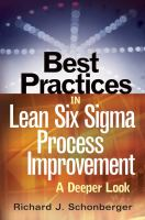 Cover image for Best practices in lean six sigma process improvement : a deeper look