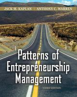 Cover image for Patterns of entrepreneurship management