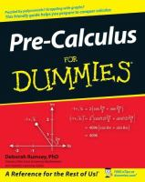 Cover image for Pre-calculus for dummies