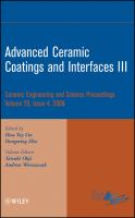 Cover image for Advanced ceramic coatings and interfaces III / a collection of papers presented at the 32nd International Conference on Advanced Ceramics and Composites, January 27-February 1, 2008, Daytona Beach, Florida