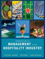 Cover image for Introduction to Management in the Hospitality Industry