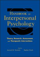 Cover image for Handbook of interpersonal psychology : theory, research, assessment and therapeutic interventions