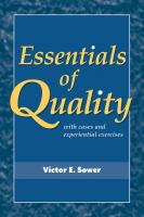 Cover image for Essentials of quality : with cases and experiential exercises