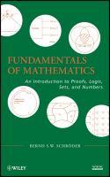 Cover image for Fundamentals of mathematics : an introduction to proofs, logic, sets, and numbers