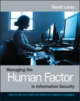 Cover image for Managing the human factor in information security : how to win over staff and influence business managers