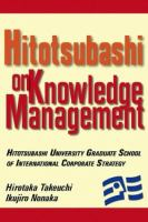 Cover image for Hitotsubashi on knowledge management