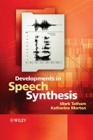 Cover image for Developments in speech synthesis