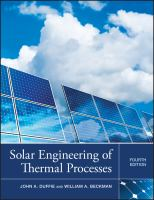Cover image for Solar engineering of thermal processes