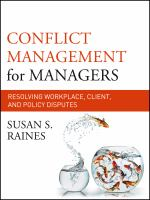 Cover image for Conflict management for managers : resolving workplace, client, and policy disputes