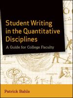 Cover image for Student writing in the quantitative disciplines : a guide for college faculty