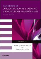 Cover image for Handbook of organizational learning and knowledge management