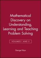 Cover image for Mathematical discovery : on understanding, learning and teaching problem solving