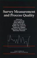 Cover image for Survey measurement and process quality