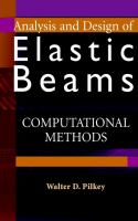 Cover image for Analysis and design of elastic beams : computational methods