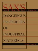 Cover image for Sax's dangerous properties of industrial materials