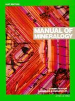 Cover image for Manual of mineralogy