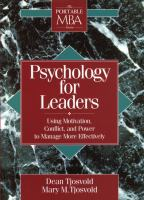 Cover image for Psychology for leaders : using motivation, conflict, and power to manage more effectively