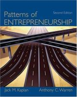 Cover image for Patterns of entrepreneurship