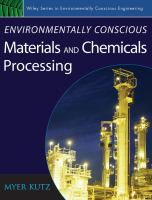 Cover image for Environmentally conscious materials and chemicals processing