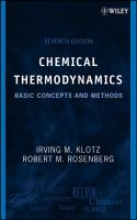 Cover image for Chemical thermodynamics : basic concepts and methods