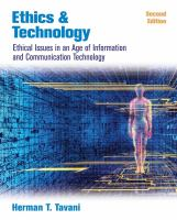 Cover image for Ethics and technology : ethical issues in an age of information and communication technology