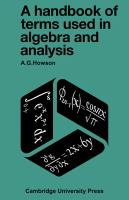 Cover image for A handbook of terms used in algebra and analysis