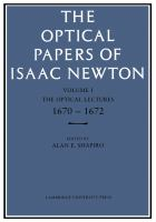 Cover image for The optical papers of Isaac Newton