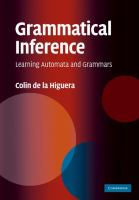 Cover image for Grammatical inference : learning automata and grammars
