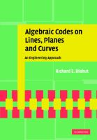 Cover image for Algebraic codes on lines, planes, and curves : an engineering approach