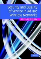 Cover image for Security and quality of service in ad hoc wireless networks
