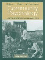 Cover image for Community psychology :  linking individuals and communities