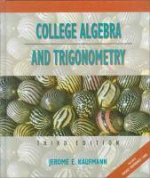 Cover image for College algebra and trigonometry