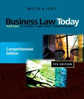 Cover image for Business law today : comprehensive edition : text & cases : E-commerce, legal, ethical, and global environment