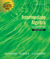 Cover image for Intermediate algebra with applications