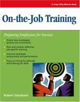 Cover image for On-the-job training : preparing employees for success