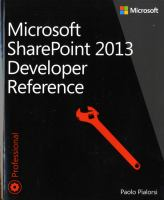 Cover image for Microsoft sharepoint 2013 developer reference