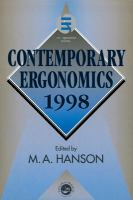 Cover image for Contemporary ergonomics 1998 : proceedings of the Annual Conference of the Ergonomics Society : Royal Agricultural College, Cirencester, 1-3 April 1989