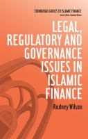 Cover image for Legal, regulatory and governance issues in Islamic finance