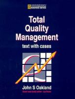 Cover image for Total quality management : text with cases