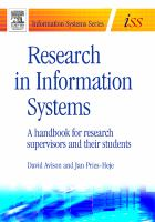 Cover image for Research in information systems : a handbook for research supervisors and their students