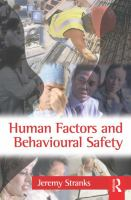 Cover image for Human factors and behavioural safety