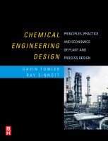 Cover image for Chemical engineering design : principles, practice and economics of plant and process design