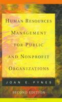 Cover image for Human resources management for public and nonprofit organizations